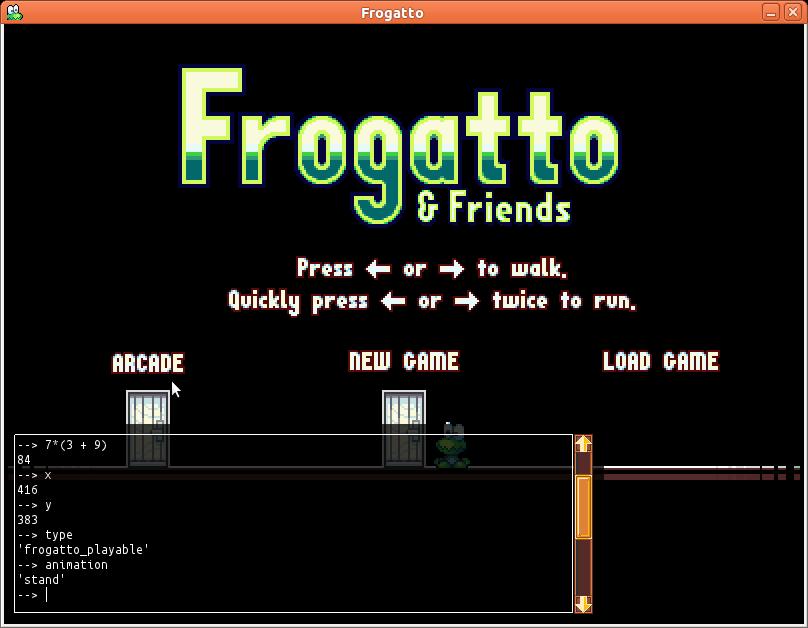 Frogatto debug console